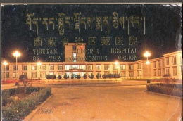 TIBET COVER WITH 10 POSTCARDS OF TIBETAN MEDICINE HOSPITAL FG NV SEE 12 SCANS MEDICAL SCIENCE PLANTS ASTROLOGY ANATOMY - Tibet