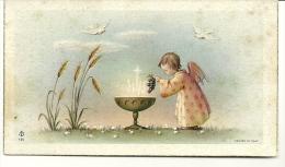 Souvenir De Première Communion De Maryse Choque. Ange, Raisin, Calice, Colombes. - Devotieprenten