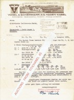 Brief 1936 HAGEN-KABEL - VOGEL & SCHEMMANN - Maschinen Und Werkzeugfabrik Kabel - Allemagne