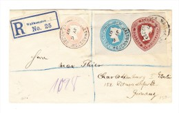 3 Farbigen Ganzsachen Ausschnitte Auf R-Brief Walthamstow 1907 Nach Charlottenburg Berlin DE - Briefe U. Dokumente
