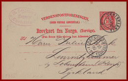 Norwegen Ganzsache Aus Christiania Von 1890 Nach Tyskland - Postal Stationery