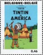 BELGIQUE 3621 ** MNH Centenaire HERGE Tintin Kuifje : En Amérique Indien Totem - Bandes Dessinées