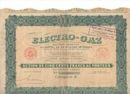 Action De 500 Francs Au Porteur Electricité Gaz Paris N° 015,919 Catégorie A 1927 - Electricité & Gaz
