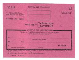 Administration Des Postes De France: Avis De Reception, De Payement, Mandat, Recommande, Vierge, Modele N° 515 C5 - Service