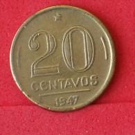 BRAZIL  20  CENTAVOS  1947   KM# 556a  -    (Nº06823) - Brésil