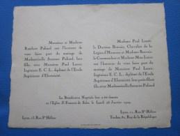 28 Janvier 1929 église Saint-François-de-Sales  Lyon /Toulon >> Faire Part De Mariage > - Boda