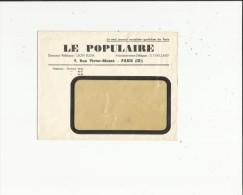 Enveloppe Neuve  Non Circulée Du Seul Journal Socialiste Quotidien De Paris 75 (Le Populaire) A Paris 75 - Curiosities: 1900-20 Mint/hinged