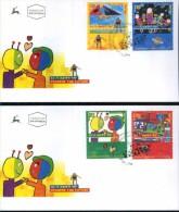 ISRAEL 2000 - Sc 1389/1392 - Stampin´ The Future - Children´s Stamp Design Contest Winners - 2 FDC's UFO ALIEN CARTOON - FDC
