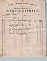 Document Du 09/05/1890 ANDRE RAYNAL Marrègues, Limousines, étoffes - Saint-Flour - France