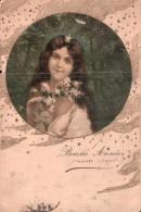 CARTE DE BONNE ANNEE ILLUSTRATION FEMME DANS UN MEDAILLON CARTE PRECURSEUR CIRCULEE 1903 - New Year