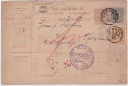 1889 - CARTE BULLETIN D'EXPEDITION De VERSECZ (HONGRIE) Pour PFORZHEIM (WÜRTT.) - AMBULANT STRASBOURG STUTTGART Au DOS - Marcophilie