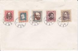 HONGRIE - 1919 - YVERT N° 240/244 OBLITERES SOPRON Sur GRANDE ENVELOPPE