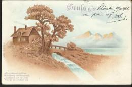 """Alte Reliefkarte   """"Gruß Aus...""""  Gelaufen 1903  Mit Frankatur - Gruss Aus.../ Grüsse Aus..."""
