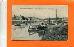 PONT SAINTE MAXENCE    1908   QUAI DU MESNIL CHATELAIN PENICHE ET GABARRE LE PORT A SABLE     CIRC  OUI   EDIT - Pont Sainte Maxence