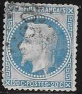 N° 29 B (II) FRANCE - NAPOLEON III LAURE - 1867  - 20c Bleu  - OBLITERE (trait Blanc Sous Le Cou) - 1863-1870 Napoléon III Lauré