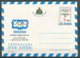 San Marino 1985 Olympic Games Olymphilex Commemorative Aerogramme - Summer 1984: Los Angeles