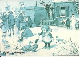 Gelukkig Nieuwjaar. Patineurs à Glace, Enfants, Canards, Boutique, Bonhomme De Neige. - Nouvel An