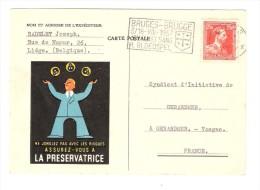 """Carte De LIEGE, Flamme """"Jeu Du St Sang / Bloedspel"""", Illustrée Assurances LA PRESERVATRICE;Jongleur,tete De Mort, 1957 - Altri"""