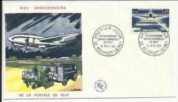 FDC ,1er Jour , 09.05.1964 , 0.25 F , XXV Anniversaire De La Poste De Nuit , LE BOURGET , N° 1418 - 1960-1969