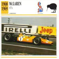 Fiche  -  Formula 1 Grand Prix Cars  -  McLaren M7A  -  Pilote Denny Hulme  -  Carte De Collection - Grand Prix / F1