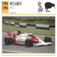 Fiche  -  Formula 1 Grand Prix Cars  -  McLaren MP4/2  -  Pilote Alain Prost  -  Carte De Collection - Grand Prix / F1