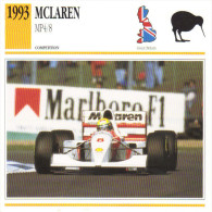 Fiche  -  Formula 1 Grand Prix Cars  -  McLaren MP4/8  -  Pilote Ayrton Senna  -  Carte De Collection - Grand Prix / F1