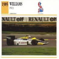 Fiche  -  Formula 1 Grand Prix Cars  -  Williams FW10  -  Pilote  Nigel Mansell  -  Carte De Collection - Grand Prix / F1