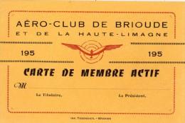 BRIOUDE AERO-CLUB BRIOUDE ET DE LA HAUTE-LIMAGNE CARTE DE MEMBRE ACTIF - Brioude
