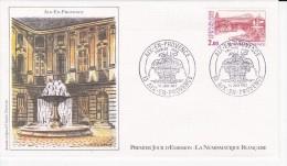 AIX-EN-PROVENCE (13), Anciens Thermes Romains, Fontaine Des Quatre-Dauphins, Dessin De Claude Durrens, FDC 19/06/1982 - 1980-1989