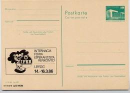 DDR P84-1-86 C134 Postkarte Zudruck ESPERANTO -TREFFEN  LEIPZIG 1986 - Esperanto