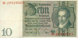 Deutschland, Germany - 10 Mark, Reichsbanknote, Ro. 173 B ,  ( Serie K/H  ) 1931 ! - [ 4] 1933-1945 : Third Reich