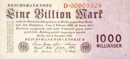 Deutschland, Germany - 1 Billion Mark, Reichsbanknote, Ro. 126 A,  ( Serie D ) UNC, 1923 ! - [ 3] 1918-1933 : Weimar Republic