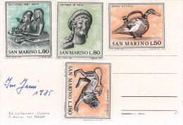 SAN MARINO 1985 - Satzfrankierung (4 Werte) Auf Ak S.Marino - San Marino