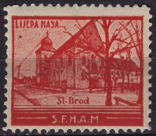 Croatia, Yugoslavia / Slavonski Brod Cathedral Church - 1930´s - Croatian Student Charity Stamp - Label / Cinderella MNH - Croatia