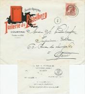 Geillistreerde Envelop Tuilerie Du Pottelberg Van COURTRAI STATION DEPART 27 SEPT 07 Naar Gand 10 Ct  Nr 74 - 1905 Grosse Barbe