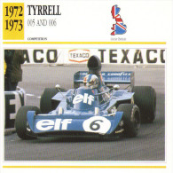 Fiche  -  Formula 1 Grand Prix Cars  -  Tyrrell 005/006  -  Pilote Francois Cevert  -  Carte De Collection - Grand Prix / F1