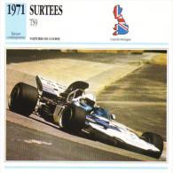 Fiche  -  Formula 1 Grand Prix Cars  -  Surtees TS9  -  Pilote Rolf Stommelen  -  Carte De Collection - Grand Prix / F1
