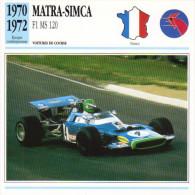 Fiche  -  Formula 1 Grand Prix Cars  -  Matra MS120  -  Pilote Henri Pescarolo  -  Carte De Collection - Grand Prix / F1