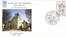 Enveloppe Philatélique Du Musée De L'automobile HENRI MALARTRE 69 Rochetaillée Sur Saône - 25ème Anniversaire 1960 - 1980-1989