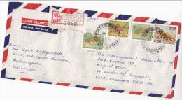 1990 REGISTERED Air Mail SRI LANKA  COVER Multi FISH 20.00,  2.00 Stamps To GB - Sri Lanka (Ceylon) (1948-...)