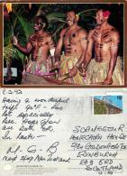 Beating The Lali Drum, Fiji Postcard Used Posted To UK 1992 Nice Stamp - Fiji