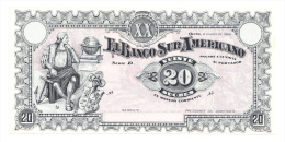 Ecuador 20 Sucres 1920 AUNC P S253 - Ecuador