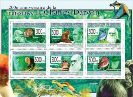 Guinea 2009 Sheet/6 Charles Darwin-Fauna Fossils Mi#6575-80 - Guinea (1958-...)