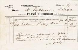 Rechnung 1876 MAINZ - FRANZ KIRCHHEIM - Allemagne