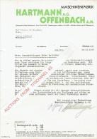 Brief 1937 OFFENBACH - HARTMANN - Maschinenfabrik - Allemagne