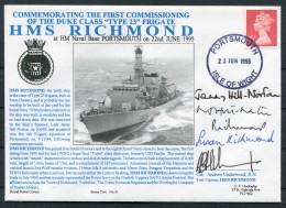 1995 GB Portsmouth Royal Navy HMS Richmond Ship Cover - Signed - 1952-.... (Elizabeth II)