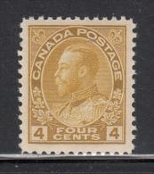 Canada MNH Scott #110 4c George V Admiral Issue, Olive Bistre - 1911-1935 Règne De George V