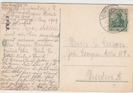 Agnetendorf,sda To Dresda Used 1909 - Covers & Documents