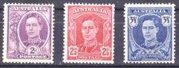 Australia 1942 - 1944 King George VI MH  SG 205-207 - - 1937-52 George VI