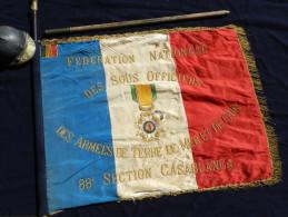 SUPERBE ANCIEN DRAPEAU SOUS OFFICIERS SECTION de  CASABLANCA     � voir .......